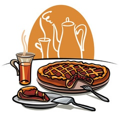 sweet pie and tea vector image vector image