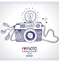 camera sketch vector image vector image