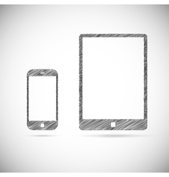 Hand-drawn electronic devices vector image vector image
