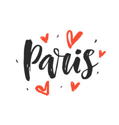 paris modern city hand written brush lettering vector image vector image
