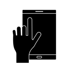 silhouette smartphone device mobile screen vector image