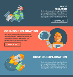 space research and cosmos exploration promotional vector image vector image