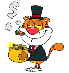 Tiger Carrying A Pot Of Gold And Smoking A Cigar vector image vector image