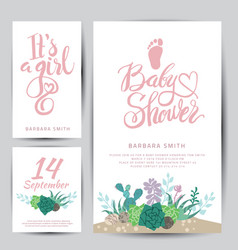 baby shower sticker with succulents vector image vector image