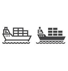 cargo ship line and glyph icon logistic vector image vector image