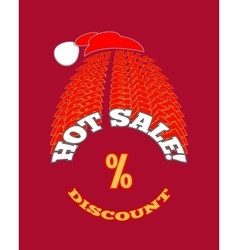 Christmas hot sale poster on red background vector image vector image