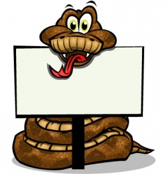 cute snake holding sign vector image vector image