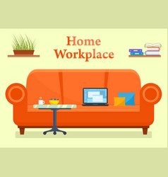 home workplace room with sofa vector image vector image