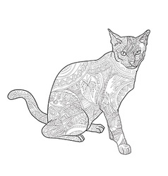 Line art of cat for coloring on white background vector image vector image