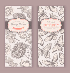 sketch flowers and butterflies vector image vector image
