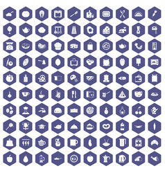 100 cooking icons hexagon purple vector