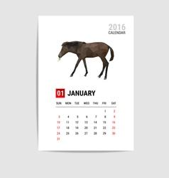2016 january calendar horse polygon vector image