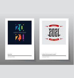 2021 set bright new year posters cover the vector image