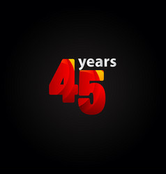 45 years anniversary red light template design vector