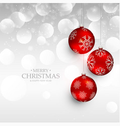 Amazing red christmas hanging balls on silver vector