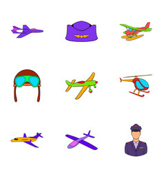 aronautics icons set cartoon style vector image
