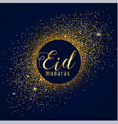 Awesome eid mubarak festival greeting with golden vector