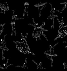 background of the ballet dancers sketches vector image