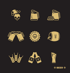 beer icons set isolated on black background vector image