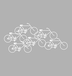 bicycles white color on gray background vector image