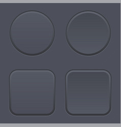 Black blank buttons round and square shaped icons vector