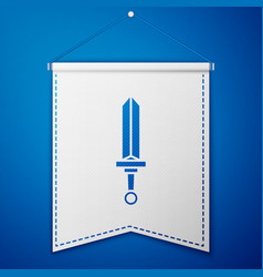 Blue medieval sword icon isolated on blue vector