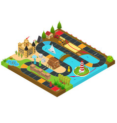 Board game concept 3d isometric view vector