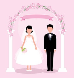 bride and groom in full length stand under vector image