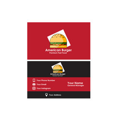 business card american burger vector image