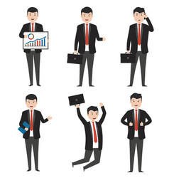 businessman characters in variety of situations vector image
