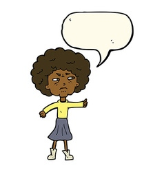 Cartoon annoyed old woman with speech bubble vector