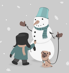 child creates snowman vector image