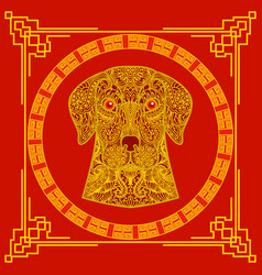 chinese new year concept gold patterned dog on vector image