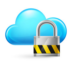 Cloud computing and padlock on white vector