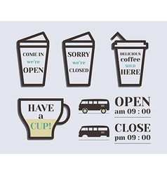 Coffee signs Open and Closed elements Rv park and vector image