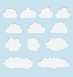 collection of white paper cut out cloud icons vector image