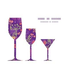 Colorful garden plants three wine glasses vector