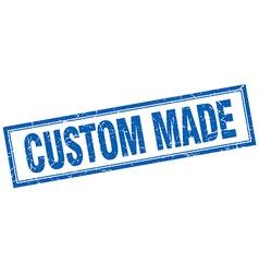 Custom made blue square grunge stamp on white vector