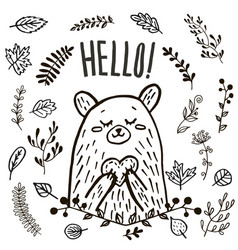 Cute bear hand drawn vector