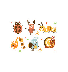 cute insects set ladybug beetle deer vector image