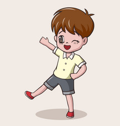 Cute little boy cartoon waving vector