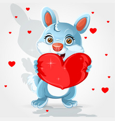 cute little bunny hold soft red heart-pillow vector image
