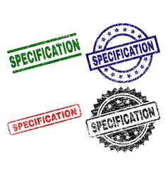 Damaged textured specification seal stamps vector