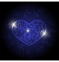 Dark blue circuit heart background vector image