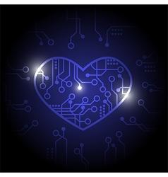 Dark blue circuit heart background vector image