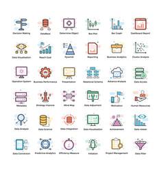 data analytics icons pack vector image