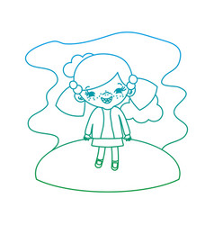 Degraded line girl child with two tails in the vector