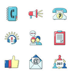 Dialer icons set cartoon style vector