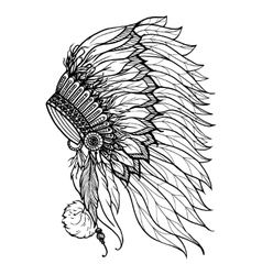 Doodle Headdress For Indian Chief vector