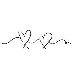doodle heart love icon sign with single vector image